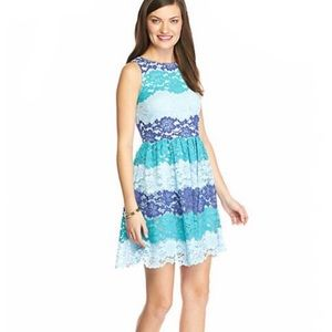 Sunday in Brooklyn Striped Blue Lace Dress Large